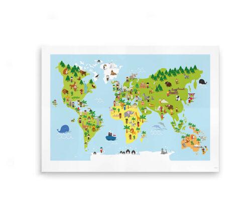 Plakat med verdenskort til børn