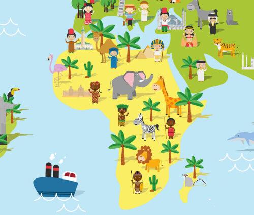Plakat med verdenskort til børn - Afrika