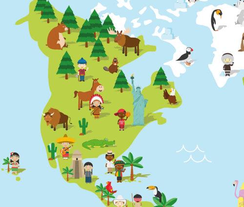 Plakat med verdenskort til børn - Amerika