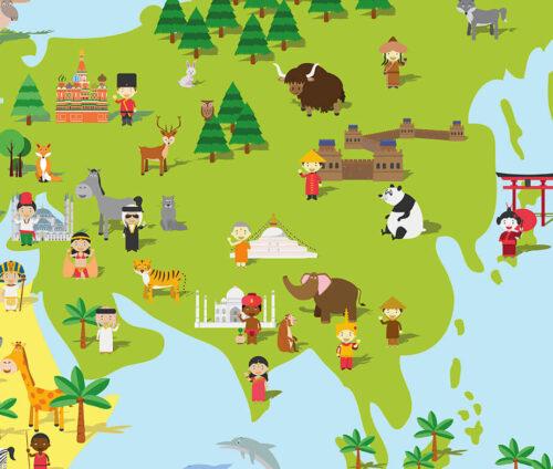 Plakat med verdenskort til børn - Asien