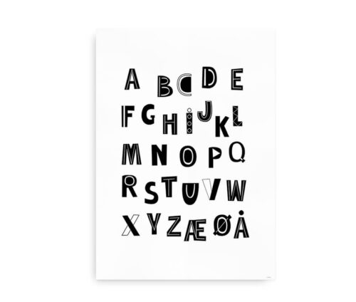 Playful ABC - alfabetplakat sorte bogstaver