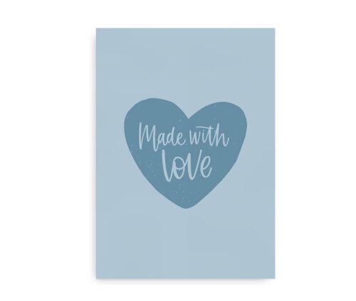 Made With Love - plakat til børneværelset - blå