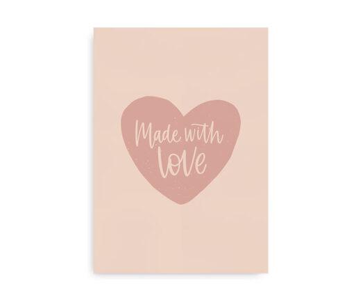 Made With Love - plakat til børneværelset - lyserød