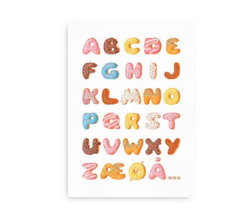 Donut ABC - Alfabetplakat med bogstaver formet som kager