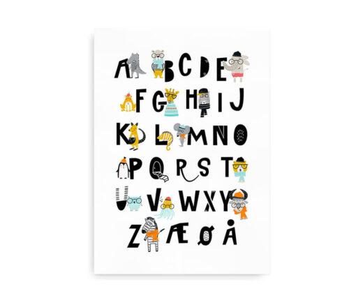 Alfabetplakat med hipsterdyr - ABC plakat