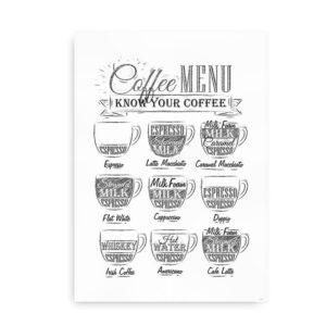 Coffee Menu - plakat til køkkenet - hvid